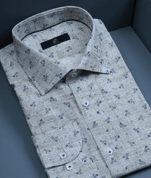 پیراهن طرحدار طوسی