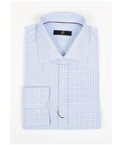 پیراهن چهارخانه آبی سفید