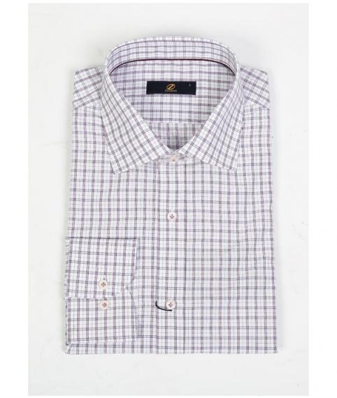 پیراهن  چهارخانه بنفش سفید