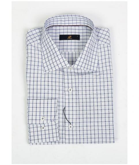 پیراهن چهارخانه سفید آبی