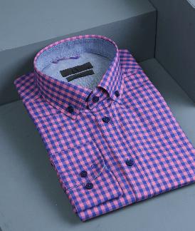 پیراهن چهارخانه آبی صورتی
